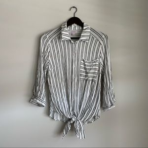 Vixbe for Vici White Striped Front Tie Top Medium